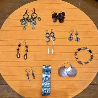 7 Earrings + 2 Bracelets