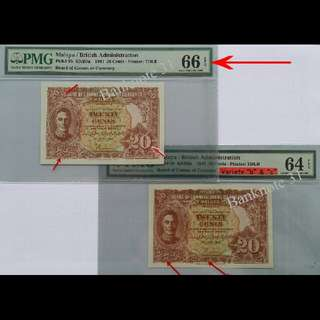 "🌟Sharing🌟 🌟RARE Set🌟1941 Malaya KGVI 20 CENTS 🌟Variety ""b"" 66EPQ🌟 🌟 Variety ""b"" & ""c"" 64EPQ🌟 🌟76years old original note very hard get high mark with EPQ🌟"