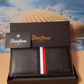 正品Flexflow真皮織帶系列兩拆長夾