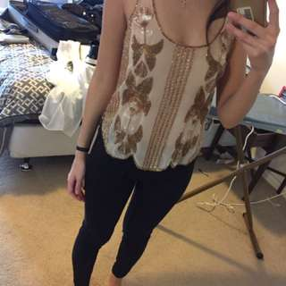 Portmans Sequin Top Gold Size Small