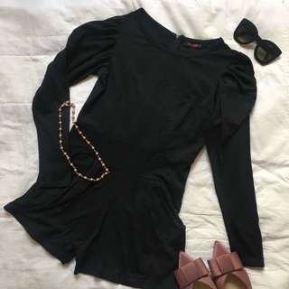Black Romper with Puff Sleeves & Side Pockets