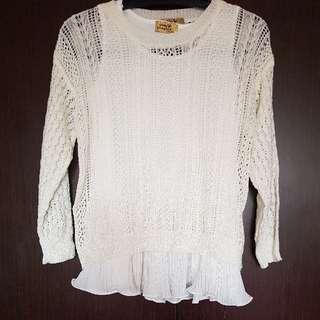 White 2 Pc Knit Wear