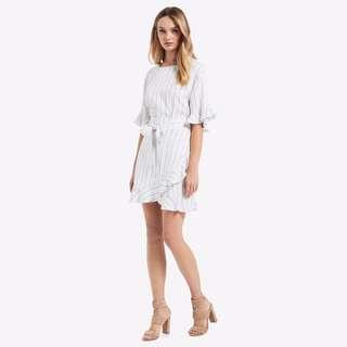 NEW!Seed Heritage Stripe Ruffle Wrap Dress Size 10 RRP$139.95