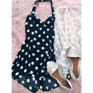 Black And White Spotted Pinup Style Playsuit Minkpink