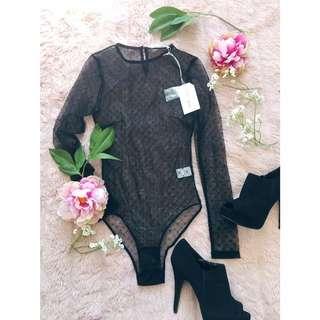 Sheer Mesh Body Suit Lulu And Rose Xxs