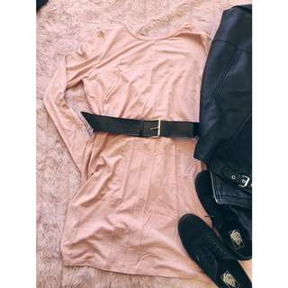 Open Back Casual Long Sleeve Tshirt Dress