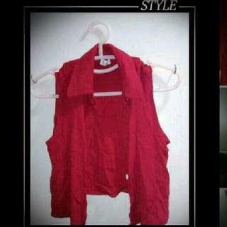 酒紅色襯衫