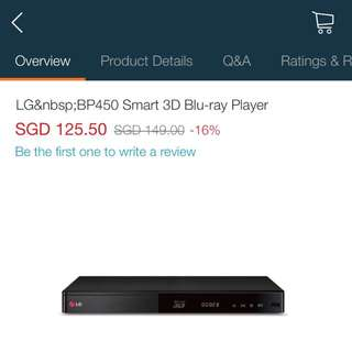 LG Wired Streaming 3D Blu-ray Disc / DVD Player