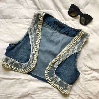 Denim Vest With Pearl Accents