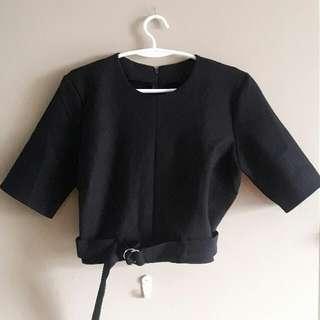 Black Cropped Top With Adjustable Belt