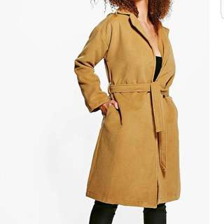 Boohoo Wool Belted Coat