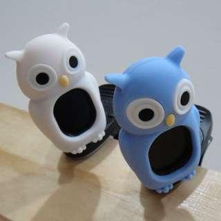 全新Swiff 貓頭鷹-白/藍 古箏專用可愛卡通造型調音器 附電池一顆