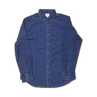 Old Navy Indigo Blue Shirt (藍染, 牛仔恤, 復古, 古著, nigel cabourn, Navy Blue)