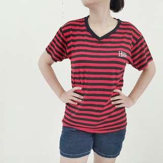 Baju Stripe Hitam Merah