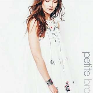 White Embroidery Chiffon Dress
