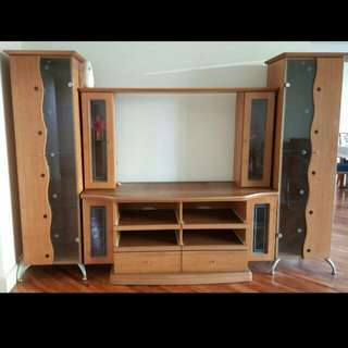 Solid Oak Wood TV Stand with 2 Display Cabinet