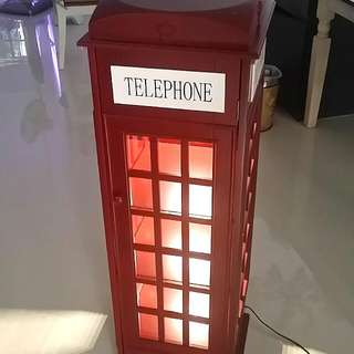 London Phone Booth (WITH LIGHTS!) BOOKSHELF