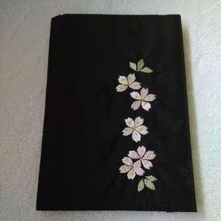 Kyoto Passport  Holder  Brand New Embroidered Sakura With Gold Blossom Line