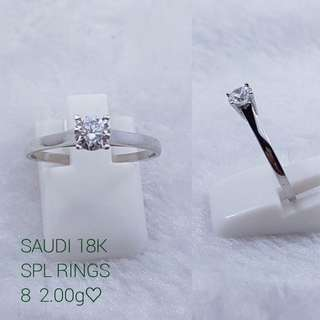 18K Saudi White Gold Ring