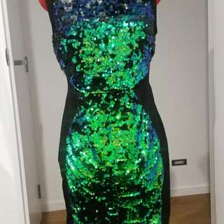 Green To Black Sequin Dress