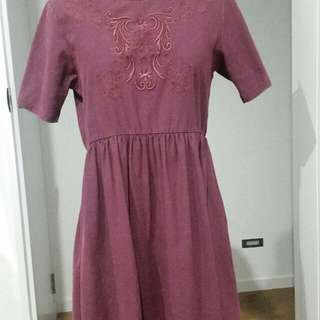 Purple Embroidered dress