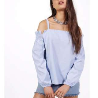 Boohoo Off The Shoulder Top Blue