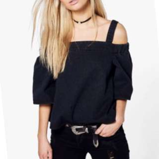 Boohoo Denim Off Shoulder Top