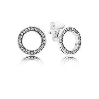 Pandora Silver stud earrings with clear cubic zirconia