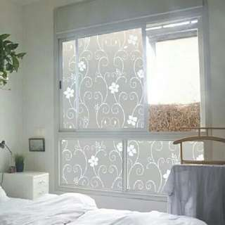 Removable Recyclable Privacy Frosted Glass Window Film Flower Sticker