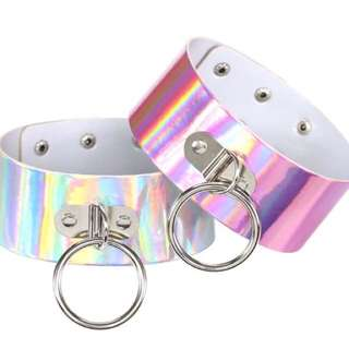 Chrome Chokers In Pink Or Silver