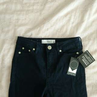 High Waist Dark Blue Skinny Jeans