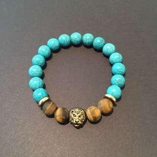Men's Stretch Bracelet - Dyed Turquoise/Tiger Eye/Lionhed