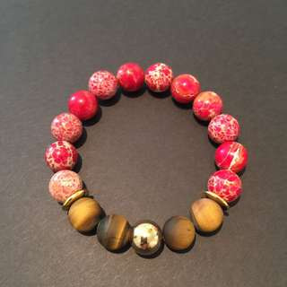 Women's Stretch Bracelet - Red Imperial Jasper/Tiger Eye/Gold Accent