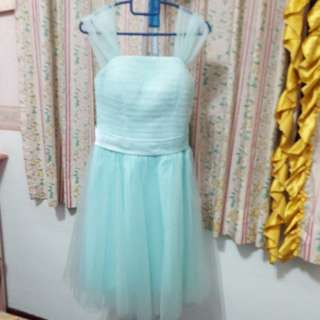 Tiffany Blue Tulle Laced Up Dress