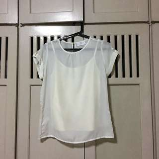 Bayo Off White Sheer Blouse