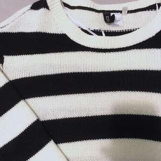 H&M Striped Knit Crop Sweater
