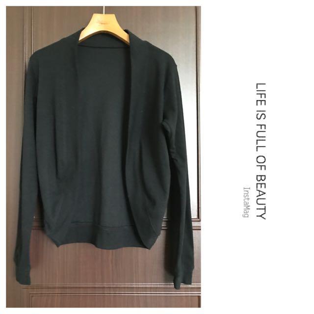 黑色針織及腰外套