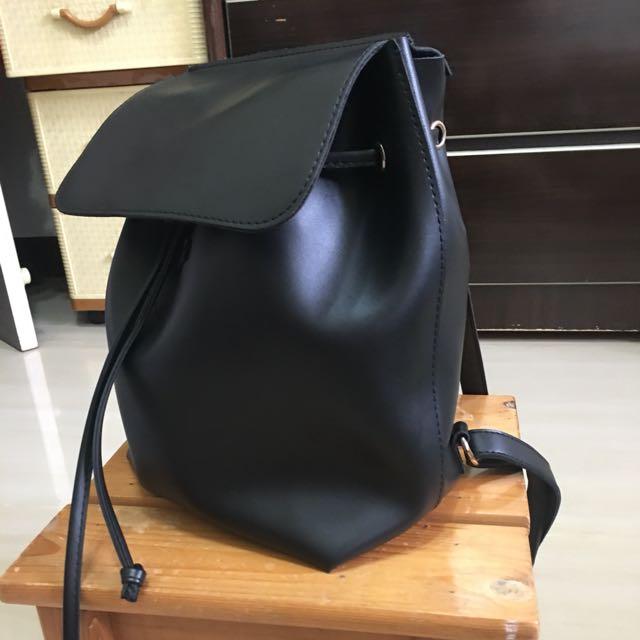 黑色 軟皮革 抽繩 後背包