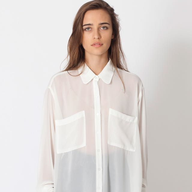 American Apparel Chiffon Oversized Button-Up