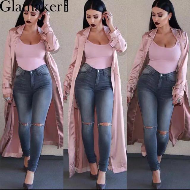 Baby Pink Satin Long Coat