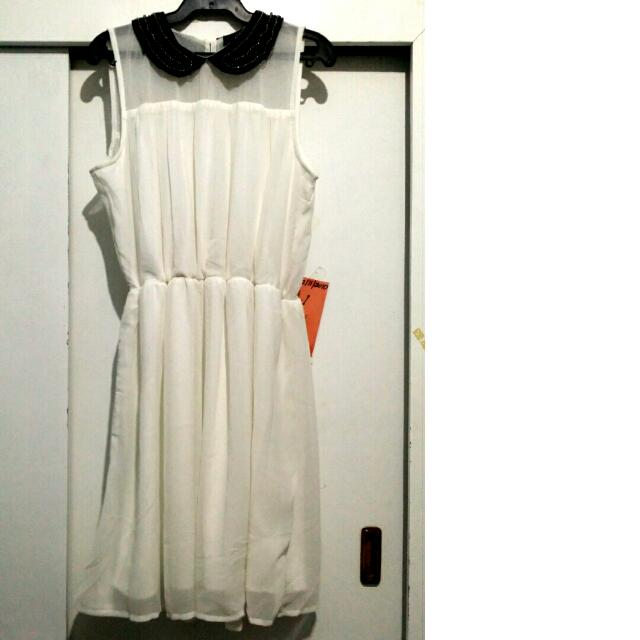 Beaded Collar Off White Dress