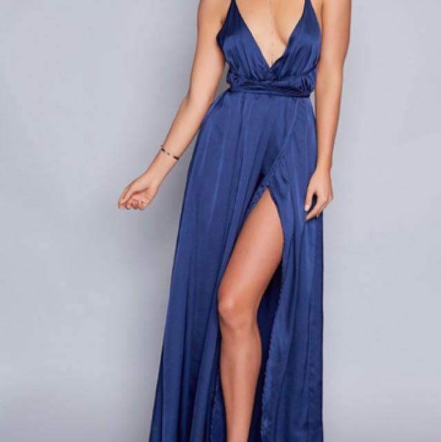 Beginning Boutique Navy Pandora Maxi Dress