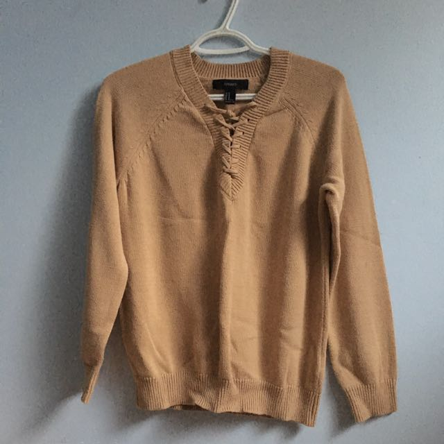 Beige Forever21 Lace-Up Sweater