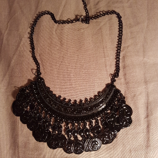 Black Coin Roman Goth Necklace