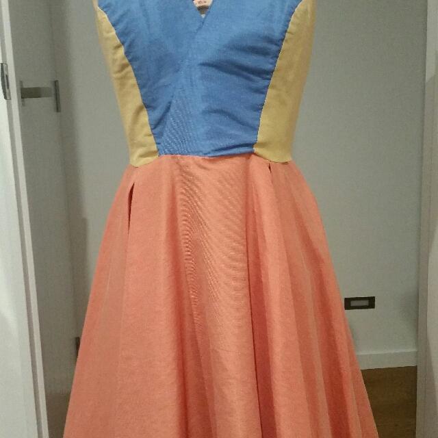 Block Colour Vintage Dress