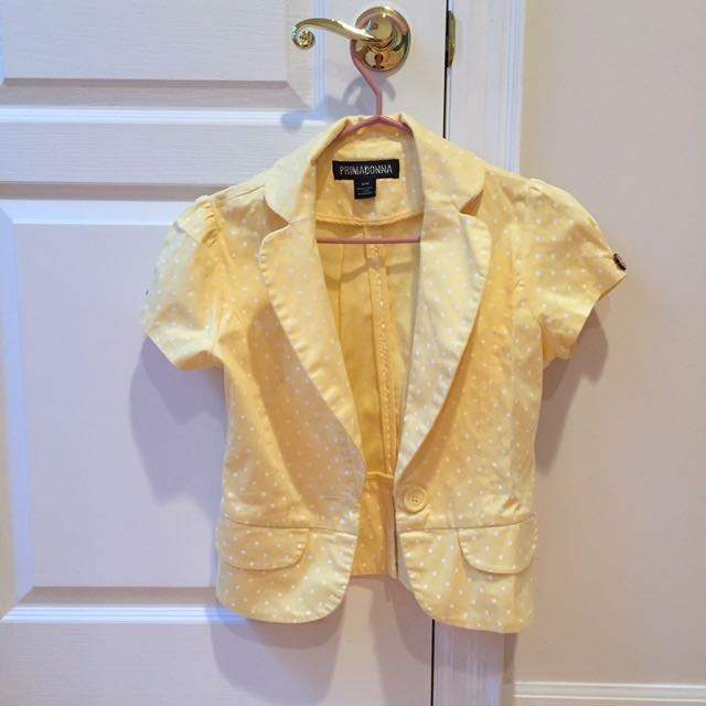 Buttercup Yellow Polka Dot Short Sleeve Blazer