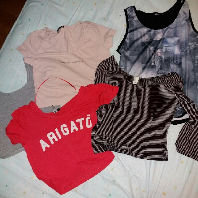 crop tops (Cotton 0n , Terranova,  Forever 21,  whoops )