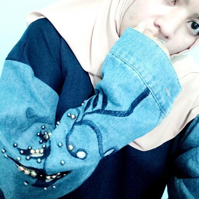 Dress navy combi jeans bordir