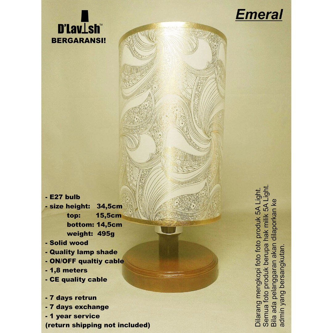 Emeral, Lampu Meja, Table Lamp, Lampu Hias