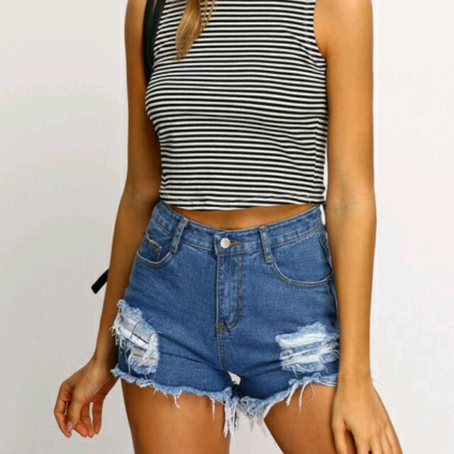 Factorie Blue Frayed Ripped Denim Shorts